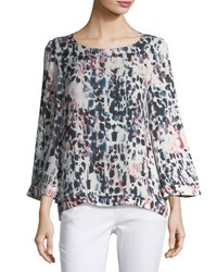 Tahari By Arthur S. Levine Graphic Print Bell Sleeve Blouse Multi