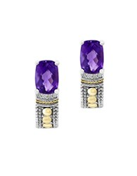 Effy Final Call Diamond Amethyst And Sterling Silver Earrings Purple