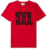 Gucci Printed Cotton Jersey T Shirt Red