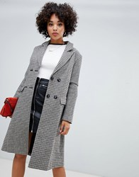 Missguided Double Breasted Longline Formal Coat In Heritage Check Brown