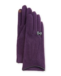 Portolano Cashmere Blend Gloves W Leather Bow Deep Purple Black