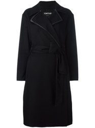 Tom Ford Thick Lapels Belted Coat Black
