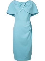Christian Siriano Cape Fitted Dress Blue
