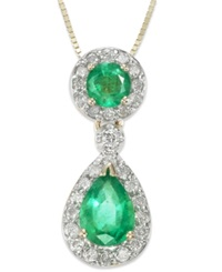 Macy's 14K Gold Necklace Emerald 1 Ct. T.W. And Diamond 1 5 Ct. T.W. Tear Drop Pendant