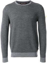 Michael Kors Houndstooth Jacquard Merino Wool Sweater Merino M Grey
