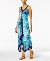 Style And Co Petite Printed Handkerchief Hem Maxi Dress Only At Macy's Pure Par Aqua