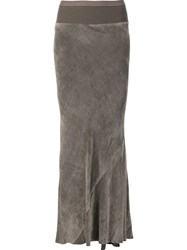 Rick Owens Pleated Back Skirt Grey
