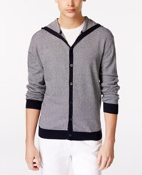 Ryan Seacrest Distinction Striped Button Front Hoodie Cardigan Only At Macy's New Navy