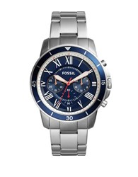 Fossil Grant Sport Stainless Steel Bracelet Chronograph Watch Silver