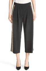 Adam By Adam Lippes Women's Embellished Wide Leg Crop Pants Black