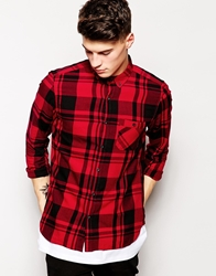 Pull And Bear Pullandbear Check Lumberjack Shirt Red