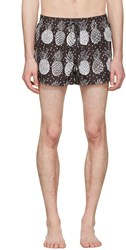 Dolce And Gabbana Black White Pineapple Swim Shorts