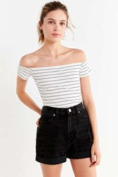 Urban Outfitters Uo Luna Striped Off The Shoulder Top White