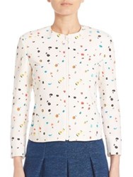 Akris Punto Printed Zip Front Cotton Jacket Cream