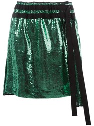 N 21 No21 Pleated Sequin Skirt Green