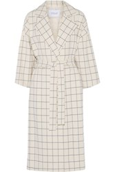 Derek Lam 10 Crosby By Checked Twill Coat Ivory
