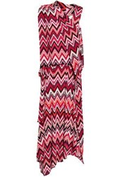 Raoul Woman Printed Stretch Jersey Midi Dress Magenta