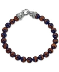 Esquire Men's Jewelry Red Tiger's Eye 8Mm Beaded Bracelet In Sterling Silver First At Macy's