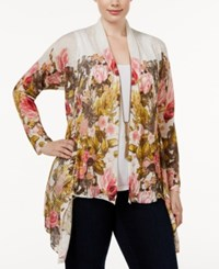 Inc International Concepts Plus Size Draped Floral Print Cardigan Only At Macy's White