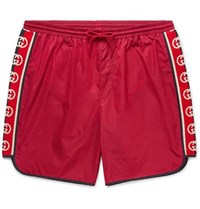 Gucci Slim Fit Mid Length Logo Webbing Trimmed Swim Shorts Red