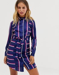 Influence Belted Midi Shirt Dress In Stripe Print Navy Stripe