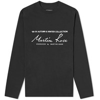 Martine Rose Long Sleeve Logo Print Tee Black