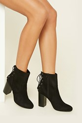Forever 21 Faux Suede Lace Up Booties