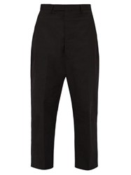 Rick Owens Karloff Wide Leg Cotton Blend Twill Trousers Black