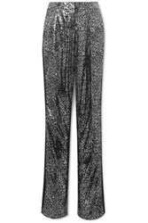 Redemption Satin Trimmed Leopard Print Sequined Tulle Straight Leg Pants Black