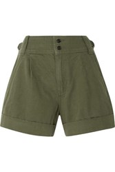 Current Elliott Cotton And Linen Blend Twill Shorts Army Green