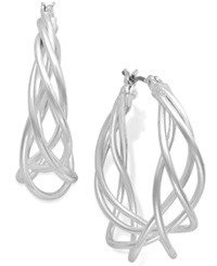 Charter Club Silver Tone Spiral Drop Earrings