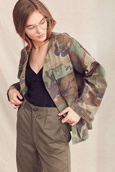 Urban Renewal Recycled Collarless Camo Surplus Jacket Green