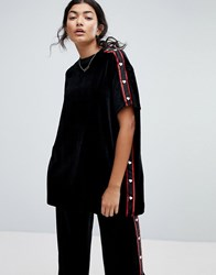 Lazy Oaf Oversized T Shirt In Velour With Heart Poppers Black