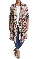 Plus Size Women's Lucky Brand Geometric Long Cardigan