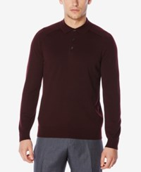 Perry Ellis Men's Merino Ribbed Polo Sweater Port