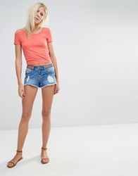 Vero Moda Embroidered Waist Denim Shorts Light Blue Wash