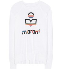 Etoile Isabel Marant Kaoa Printed Linen Long Sleeve T Shirt White
