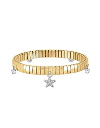 Nomination Gold Pvd Stainless Steel Women's Bracelet W Stearling Silver Star And Cubic Zirconia