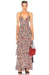 A.L.C. Titus Dress In Black Floral Green Red White Black Floral Green Red White
