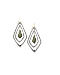 Alexis Bittar Diamond Shape Pyrite Drop Earrings Gunmetal