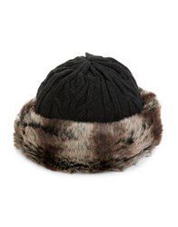 Parkhurst Textured Faux Fur Trimmed Hat Black Brown
