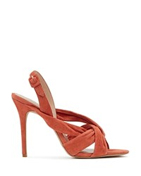 Reiss Rhiannon Suede Knot High Heel Sandals Coral