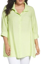 Foxcroft Plus Size Women's Linen Chambray Tunic Key Lime