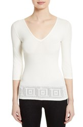 Versace Women's Collection Open Knit Hem Top Optical White