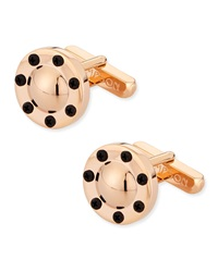 Thompson London Circular Cuff Links W Screw Detail Rose Golden