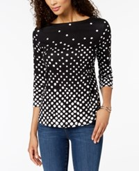 Charter Club Button Shoulder Print Top In Regular And Petite Sizes Created For Macy's Deep Black Dot Combo