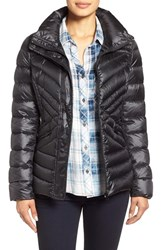Women's Halogen Hooded Quilted Down Jacket Black
