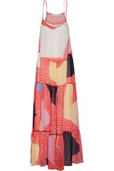Diane Von Furstenberg Baylee Pleated Printed Silk Chiffon Maxi Dress Multi