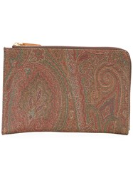 Etro Paisley Print Zipped Wallet Women Cotton Polyester Polyurethane Pvc One Size Brown