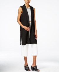 Bar Iii Open Front Long Collared Vest Only At Macy's Black